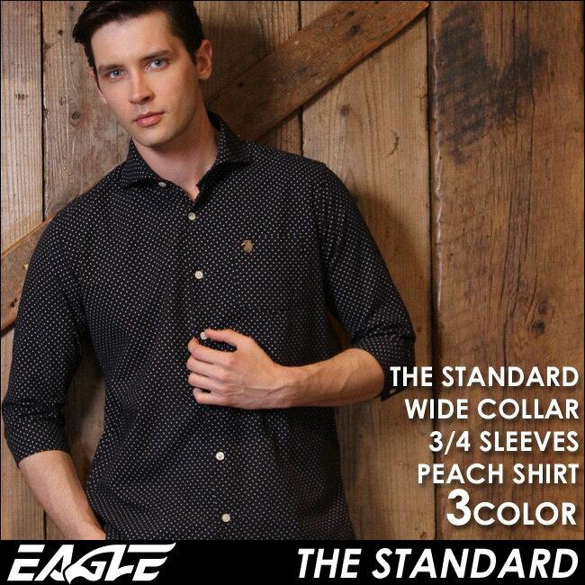 【送料無料】 7分袖 シャツ メンズ カジュアル 七分袖 シャツ ドット柄 ワイシャツ ワイド EAGLE THE STANDARD (カジュアルシャツ 七分袖 シャツ メンズ 大きいサイズ ピーチシャツ 7分袖シャツ ワイド シャツ Yシャツ イーグルシャツ コットンシャツ メンズシャツ)