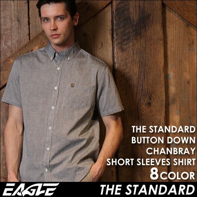 【送料無料】 シャツ メンズ 半袖 シャンブレーシャツ メンズ ボタンダウン EAGLE THE STANDARD [日本規格] (カジュアルシャツ メンズ 半袖 シャンブレーシャツ ボタンダウンシャツ 半袖 大きいサイズ シャツ Yシャツ ワイシャツ コットンシャツ メンズシャツ)
