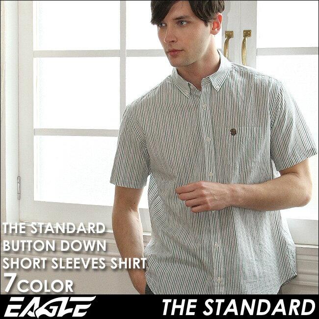 【送料無料】 シャツ メンズ 半袖 カジュアル ストライプ シャツ ボタンダウン 半袖 EAGLE THE STANDARD [日本規格] (カジュアルシャツ メンズ 半袖 ストライプシャツ ボタンダウンシャツ 半袖 大きいサイズ シャツ Yシャツ ワイシャツ コットンシャツ メンズシャツ)