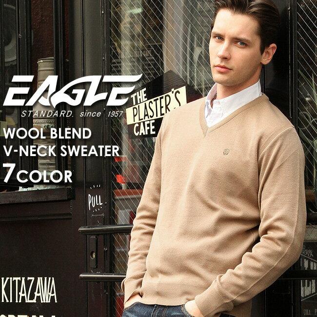 【送料無料】 EAGLE THE STANDARD イーグル セーター メンズ Vネック ニット 日本製 [日本規格] (eagle-30001) ニット セーター メンズ ウール 無地 vネック ニット メンズ Vネックセーター 黒 ブラック ネイビー 大きいサイズ LL 2L made in japan