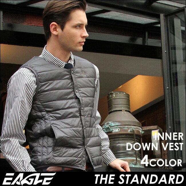 【送料無料】 EAGLE THE STANDARD インナーダウン ベスト メンズ 軽量 防寒 [日本規格] (eagle-40002) イーグル インナーダウン ベスト ライトダウン ダウンベスト 軽量 メンズ 大きいサイズ 無地 ブラック 撥水 軽い