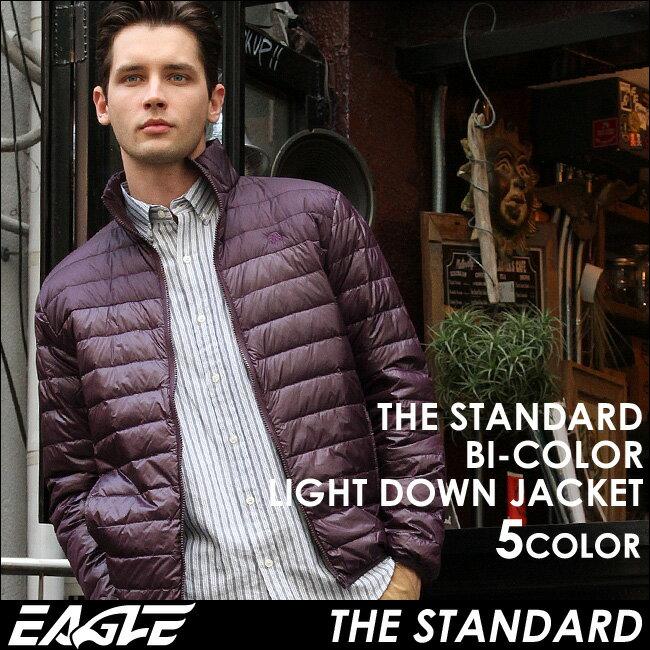 【送料無料】 EAGLE THE STANDARD ダウンジャケット メンズ 軽量 [日本規格] (eagle-40004) イーグル ライトダウンジャケット バイカラー 切り替え ダウン ライトアウター ライトダウン 無地 黒 ブラック 防寒 撥水 軽い 大きいサイズ