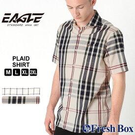 【送料無料】 シャツ 半袖 ワイドカラー ブロード ローン チェック柄 ポケット メンズ 大きいサイズ 日本規格|ブランド EAGLE STANDARD イーグル|半袖シャツ カジュアル ワイシャツ
