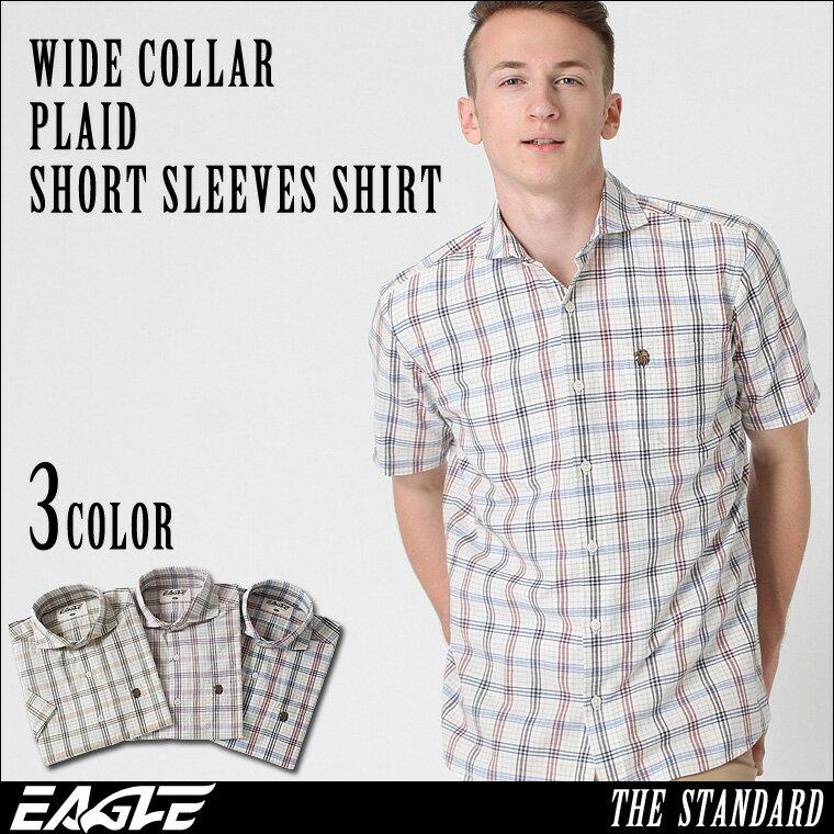 【送料無料】 EAGLE THE STANDARD │ シャツ メンズ 半袖 半袖シャツ メンズ [ワイドカラー 半袖 チェック柄 チェックシャツ メンズ 半袖シャツ メンズ 大きいサイズ メンズ シャツ] (日本規格)