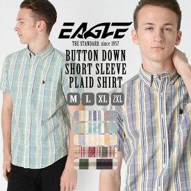 シャツ 半袖 メンズ ボタンダウン ポケット チェック柄 大きいサイズ シャツ 日本規格|ブランド EAGLE THE STANDARD イーグル|半袖シャツ カジュアル 2019 春夏 新作