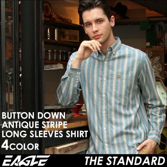 【送料無料】 EAGLE THE STANDARD イーグル シャツ ブランド 長袖シャツ メンズ ストライプ シャツ [日本規格] (eagle-89023) ストライプシャツ 長袖 シャツ メンズ カジュアルシャツ ボタンダウンシャツ ワイシャツ Yシャツ 大きい サイズ コットンシャツ メンズシャツ