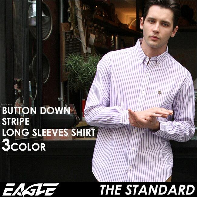 【送料無料】 EAGLE THE STANDARD イーグル シャツ ブランド 長袖シャツ メンズ ストライプ シャツ [日本規格] (eagle-89025) ストライプシャツ 長袖 シャツ メンズ カジュアルシャツ ボタンダウンシャツ ワイシャツ Yシャツ 大きい サイズ コットンシャツ メンズシャツ