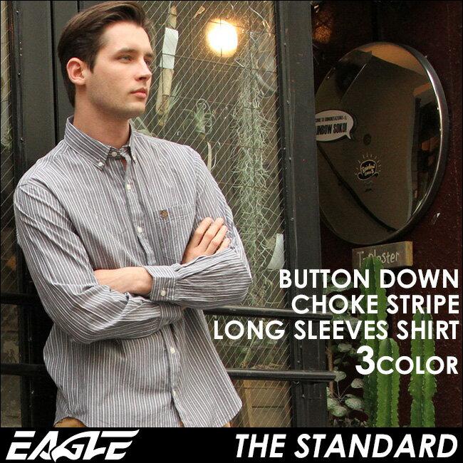【送料無料】 EAGLE THE STANDARD イーグル シャツ ブランド 長袖シャツ メンズ ストライプ シャツ [日本規格] (eagle-89026) ストライプシャツ 長袖 シャツ メンズ カジュアルシャツ ボタンダウンシャツ ワイシャツ Yシャツ 大きい サイズ コットンシャツ メンズシャツ