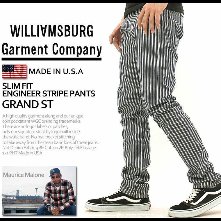 【送料無料】 WILLIAMSBURG ウィリアムズバーグ ストライプ パンツ メンズ 大きいサイズ 【made in usa】 (grand-st-stripe) [ウィリアムズバーグ ストライプパンツ ホワイト 白 スリム Williamsburg Garment Company モーリスマローン] (USAモデル)
