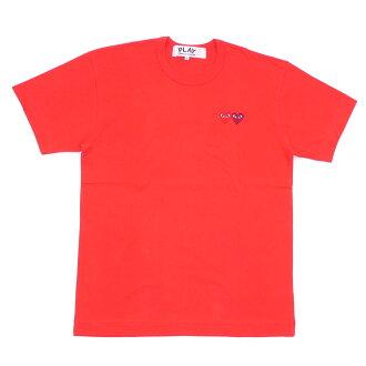 PLAY COMME des GARCONS(pureikomudegyaruson)2HEART TEE(T恤)RED 200-007273-053x