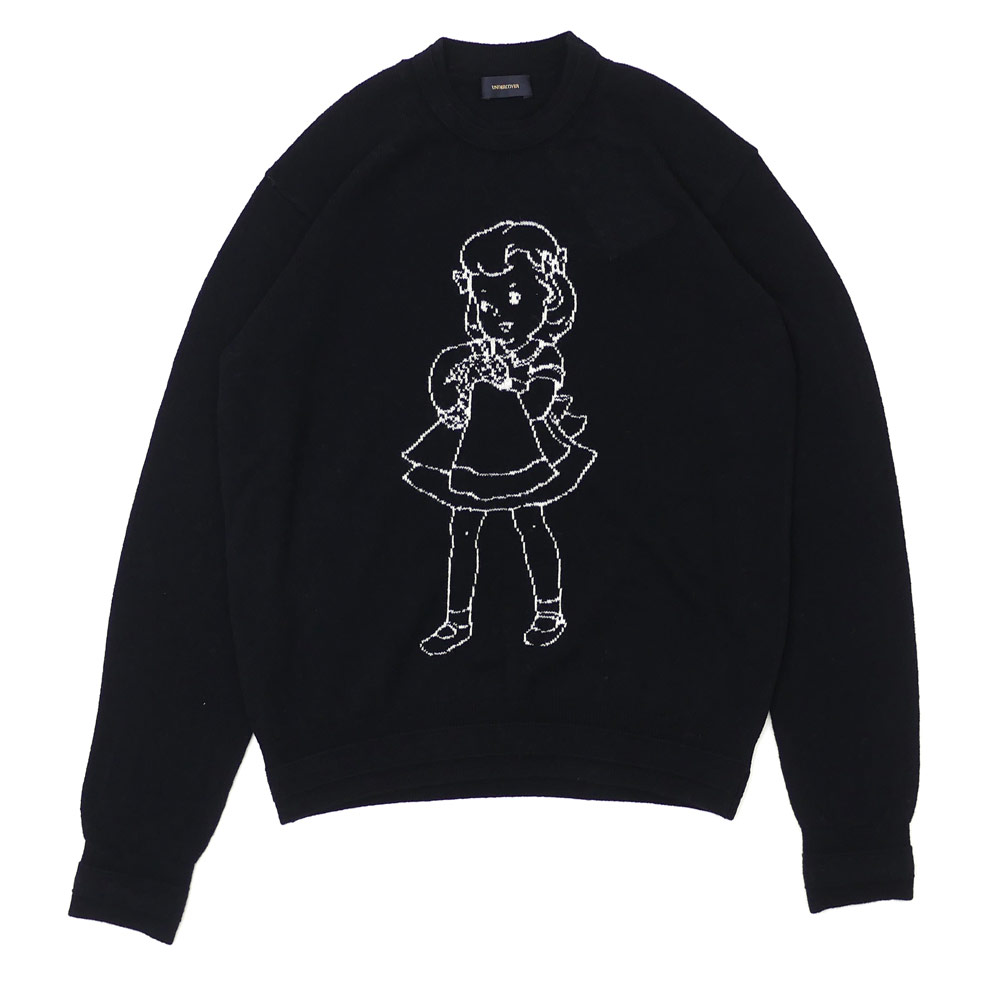 UNDERCOVER(アンダーカバー) BRAINWASH GIRL JACQUARD KNIT (ニット) BLACK 231-000345-531x【新品】