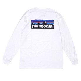 Patagonia パタゴニア M's L/S P-6 Logo Responsibili T-Shirt ロゴ レスポンシビリ ロングスリーブTシャツ WHITE ホワイト REGULAR FIT レギュラーフィット 39161 ロンTee 長袖Tシャツ【新品】202001088030