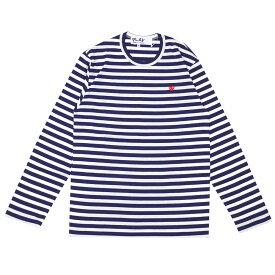 新品 プレイ コムデギャルソン PLAY COMME des GARCONS MENS BORDER SMALL RED HEART L/S TEE 長袖Tシャツ WHITExNAVY ホワイトxネイビー メンズ