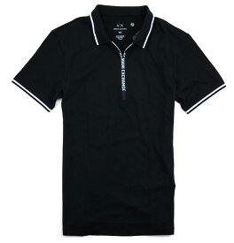 ARMANI EXCHANGEアルマーニエクスチェンジ メンズ ジップロゴ ポロシャツ 284 BLACK黒