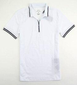 ARMANI EXCHANGEアルマーニエクスチェンジ メンズ ジップロゴ ポロシャツ 285 ホワイト白