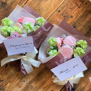 ローズクッキーブーケ 2セット アイシングクッキー チョコレートクッキー 花束  焼き菓子 ギフト プレゼントブーケ 同一場所に配達 バラのクッキー 素敵