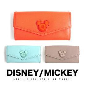財布 ウォレット 本革 accommode アコモデ ディズニー Disney ミッキー MICKEY コインケース カードケース 二つ折り 長財布 アクリル コラボ ギフト プレゼント 送料無料
