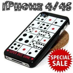 SALE iPhone4/4S ケース サイコロ柄 ダイス ハードカバー◎ホワイト[4643625]