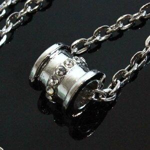 アウトレット 送料無料 ネックレス あずきチェーン バレル樽型トップ ジルコニア 小さめ◎シルバー[5084310-OUTLET]