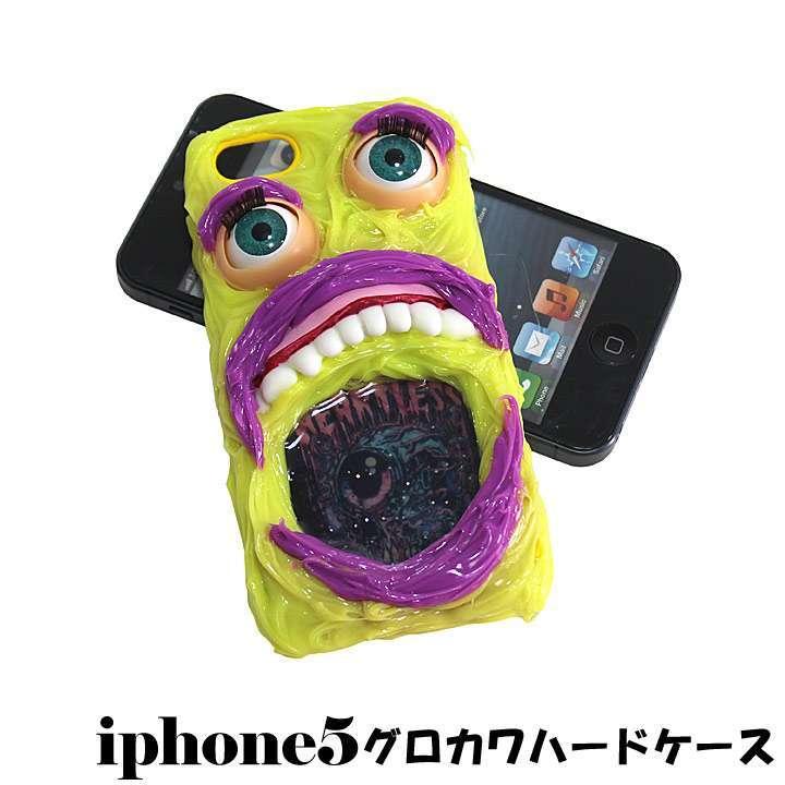 アウトレット 送料無料 iPhone5専用ハードカバーケース デコ モンスター目玉 口開け◎イエロー[5504736-OUTLET]