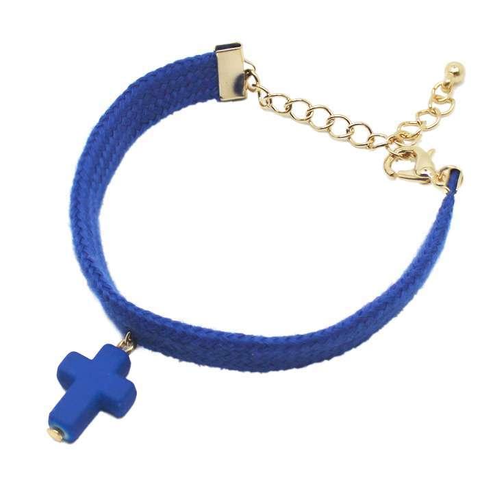 ブレスレット 紐ブレス 立体クロス 十字架 ネオンカラー◎ブルー[5615725]