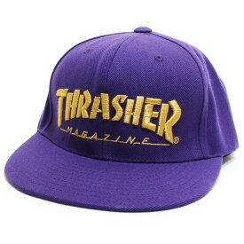 帽子 キャップ スラッシャー THRASHER ロゴ 刺繍 人気 定番◎パープル[5717821]