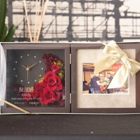 【ブック型大輪ムーン】【名入れ】結婚祝いプリザーブドフラワー時計壁掛け置き時計両親フレーム名入れ還暦祝い女性母結婚祝い誕生日祝い
