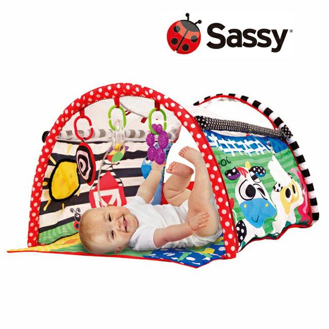 【ベビー プレイマット ギフト対応】Sassy サッシー バーントンネル ベビージム/ベビー用品/おもちゃ/出産祝い/お誕生/かわいい/キッズ/カラフル/ポップ/男の子/女の子