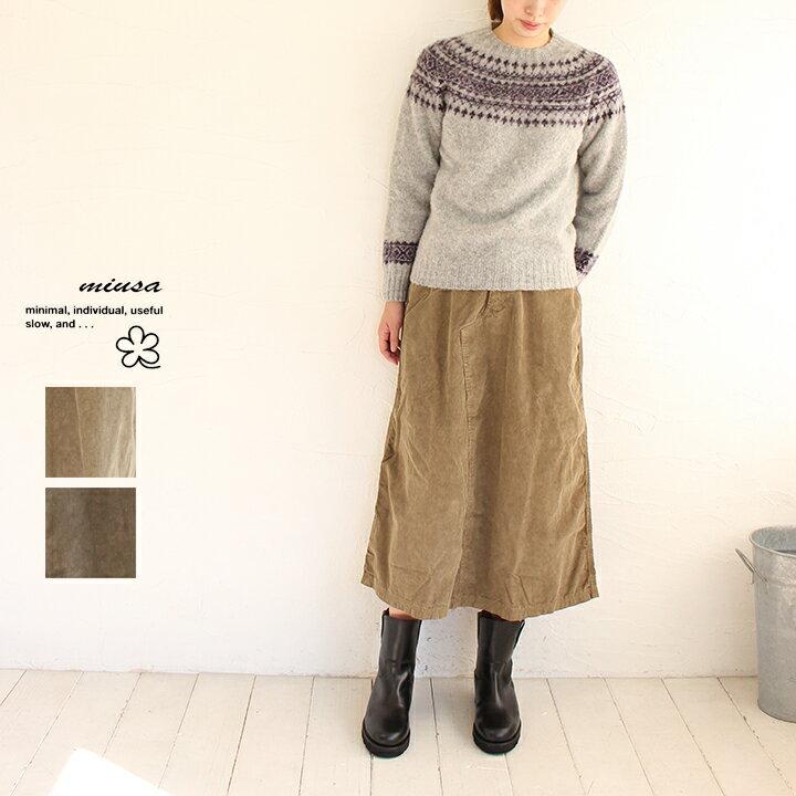 【送料無料】miusa(ミューザ)コーデュロイロングスカート///