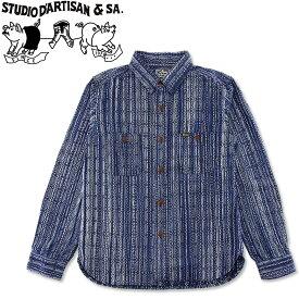 STUDIO D'ARTISAN (ダルチザン) カセ染め 刺し子 シャツ [5606] (長袖/ワークシャツ/ストライプ/アメカジ/メンズ/おしゃれ/日本製/ステュディオ)