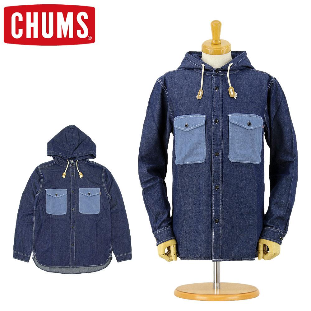 チャムス CHUMS [CH02-1067] デニム CPO フーデッドシャツ (フード付き ボタン シャツ 長袖 メンズ おしゃれ かわいい S M L XL)