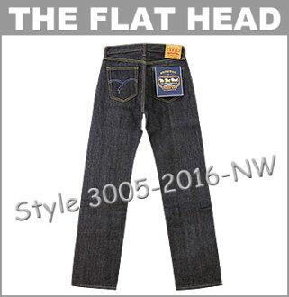 ■ THE FLAT HEAD(平地脑袋牛仔裤)[3005-2016]3005常规笔直(无洗涤/再纪德)(14.5oz/日本制造/粗斜纹布/serubijji/人/JEANS)