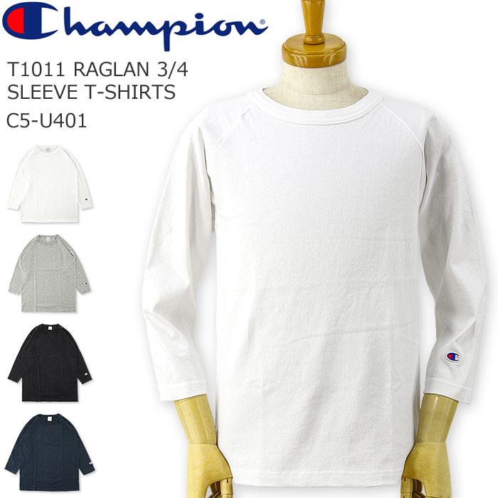 CHAMPION (チャンピオン) T1011 ラグラン 3/4 スリーブ Tシャツ [C5-U401](メンズ/レディース/ティーテンイレブン/七分袖/7分袖/おしゃれ/ストリート/アメカジ/アメリカ製)