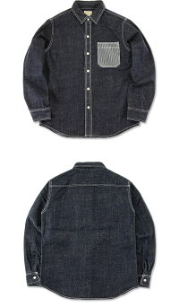 児島ジーンズ(KOJIMAGENES)デニムヒッコリーワークシャツ[RNB-202R-2](長袖シャツ/デニムシャツ/日本製/岡山/児島/アメカジ/KOJIMAJEANS/RNB202R)