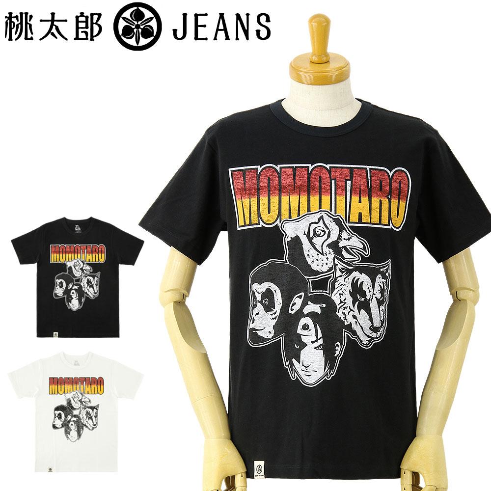 【SALE セール】桃太郎ジーンズ (MOMOTARO JEANS) ジンバブエコットン バンド プリント 半袖Tシャツ [07-053](半袖 Tシャツ おしゃれ 日本製 メンズ アメカジ ももたろう モモタロウ)【ゆうメールなら送料→180円】