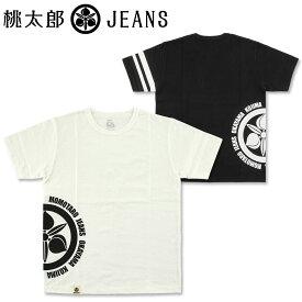 桃太郎ジーンズ (MOMOTARO JEANS) サイドエンブレム プリント Tシャツ [07-070](半袖Tシャツ ジンバブエコットン 出陣 おしゃれ 日本製 メンズ アメカジ ももたろう モモタロウ)