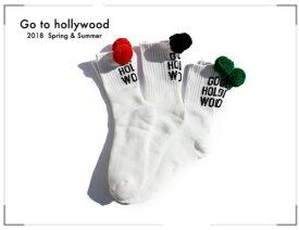 2018 S/S Go to Hollywood ゴートゥハリウッド 1482011ロゴ ボンテン SOX 【LL(22-24cm)】【F(25-27)】【2 ブラック】【5 レッド】【8 グリーン】