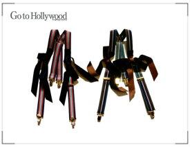 【SALE 30%OFF】2018 A/W Go to Hollywood ゴートゥーハリウッド 1488013 ストライプ リボンツキ サスペンダー【S】【4 ネイビー】【7 ブラウン】