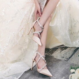 パンプス ハイヒール 本革 シルク ラインストーン バックジッパー ストラップ ヒール高さ3種類 ブライダル ポインテッドトゥ ゴージャス レース キラキラ 美脚效果 脚が長く見える おしゃれ 美しい パーティ 結婚式 人気 女子会