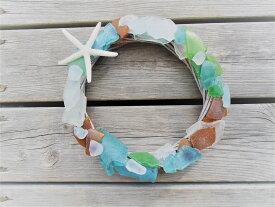 Mermaid jewelry カラー シーグラス(ビーチグラス)スターフィッシュ ドアリース 玄関 壁飾り ディスプレイ ハンドメイド ハワイインテリア