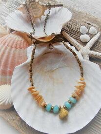 Mermaid jewelry シェルチャーム ネックレス マザーオブパール 天然石(アマゾナイト) オリジナル ハンドメイドアクセサリー