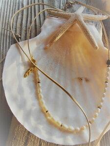 Mermaid jewelry ミニパールチョーカー 2wayネックレス フェザーチャーム オリジナル ハンドメイドアクセサリー