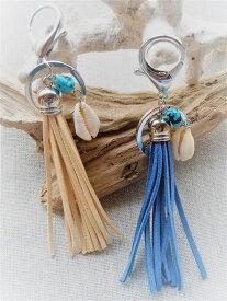 Mermaid jewelry シェル タッセルキーホルダー ペアーアクセサリー キーチェーン ターコイズ ハンドメイド ハワイ雑貨 シェルアクセサリー