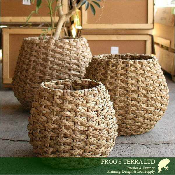 Lush Basket・M・B8211(直径47cm×H42cm)(底穴なし)(植物繊維)(植木鉢/鉢カバー)(プランター/園芸/寄せ植え/ポット)