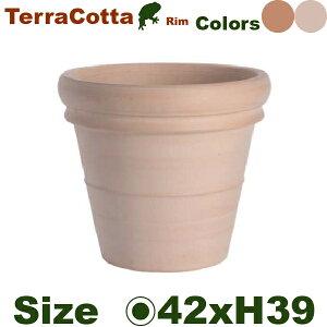 リムポット 42(直径42cm×H39cm)(底穴あり)(尺鉢対応 イタリア製 陶器鉢 テラコッタ プランター Terracotta)