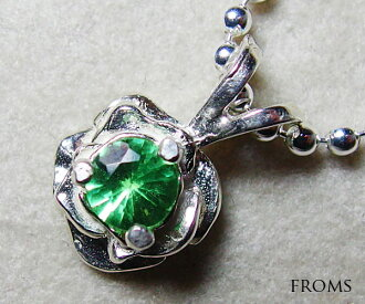 Quality of jewels and ornaments グロッシュラーグリーンガーネット 4mm petit pendant necklace (ツァボライト)