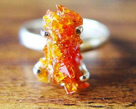 ジンカイト 一点物 超レア 最高透明度 レッド オレンジ ジンカイト リング シルバー925 Zincite 指輪 送料無料 ジンサイト サイズ変更無料