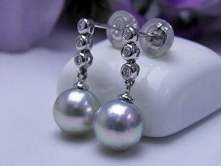 真珠ピアス送料無料『K18WGダイヤ&あこやピアス』あこや真珠アコヤダイヤモンド真珠婚30年成人式プレゼントお祝いナチュラル8ミリ