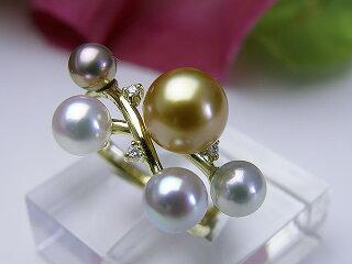 真珠リング送料無料K18南洋金色リングパールジュエリー入学式真珠婚30年成人式高品質ゴールド南洋金色1点限りあこや真珠淡水真珠誕生日