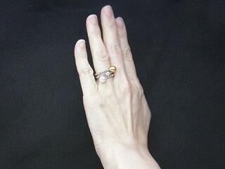 真珠リング送料無料K18WG金色ケシ&あこや真珠リングパールジュエリー入学式真珠婚30年あこや真珠ダイヤおすすめ品金色ケシ上品人気記念日